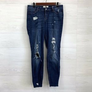 Vintage America Boho Skinny Ankle Distressed Jeans